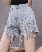 Sexy slim nightclub wide leg pants tassels summer shorts