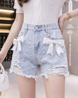 High waist bow slim beading removable student short jeans