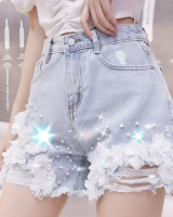 Flowers summer slim pants denim beading shorts
