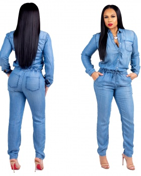 Bandage Casual jumpsuit slim fashion jeans for women