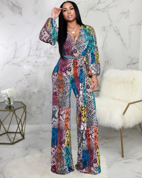 Digital V-neck sexy printing fashion European style jumpsuit