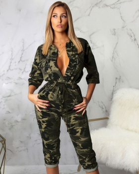 European style fashion summer camouflage jumpsuit for women