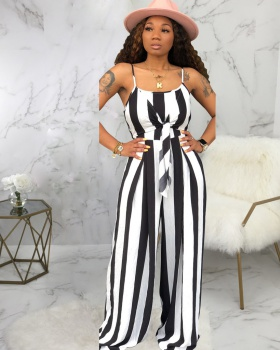 Sling wrapped chest stripe wide leg European style jumpsuit