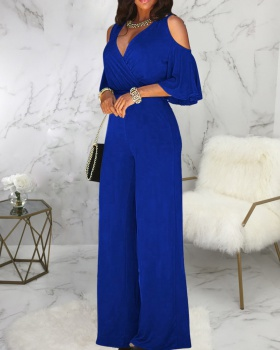 Autumn wide leg loose European style sexy fashion jumpsuit