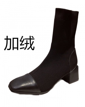 Square head elasticity boots splice short boots